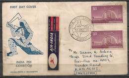 USED AIR MAIL FIRST DAY COVER INDIA TO PAKISTAN 1958 - Other