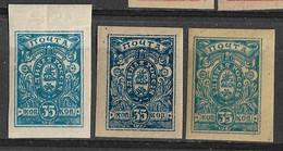 Denikin Army, South Russia, Civil War 1919 Three Different Blue Color 35K. Mi 4B/Sc 64. MH. - Zuid-Russisch Leger
