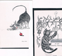 2 Cartes Chats  - Cats -katzen -getekende Poesjes - Chats
