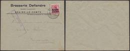 """Guerre 14-18 - OC3 Sur Lettre à En-tête """"Brasserie Deflandre"""" (Braine-le-comte) + Censure > Bruxelles - [OC1/25] General Gov."""