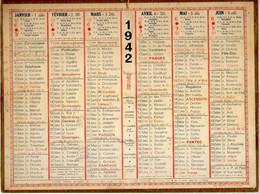 CALENDRIER GF 1942 - Sans Texte Et Sans Photo-image, édition Des P&T, Imprimeur Oller Puteaux - Big : 1941-60