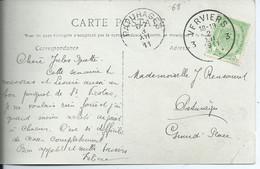 Fantasiekaart Met OCB 83 - Afstempeling VERVIERS 3 - 1893-1907 Coat Of Arms