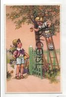 Petite Fille Qui Offre Une Pomme à Un Petit Garçon, Fleurs, échelle.  Coloprint 5225 - Non Classificati