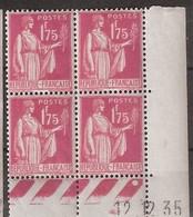France Maury 289 (Yvert ) ** Type Paix Coin Daté Du 12,12,1935 - 1930-1939