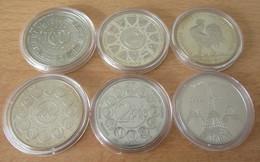 Lot De 6 Médailles Sous Capsules Dont Ecu 1995, Euro 2001 à 2003, Tour Eiffel, Fin Du Franc - Certaines Belle-Epreuve - Profesionales / De Sociedad