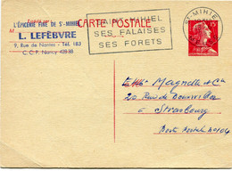 FRANCE ENTIER POSTAL  15 F MARIANNE DE MULLER DEPART ST-MIHIEL 13-6-1958 MEUSE POUR LA FRANCE - Postales Tipos Y (antes De 1995)