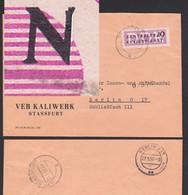 """Germany East DDR ZKD-Brief 20 Pf Mit Plattenfehler B7I  """"N"""" Gebrochen Stassfurt Kaliwerk - Service"""