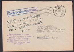 BERLIN N4 Charité Humboldt-Uni Bereich Medizin 22.3.72 Germany East DDR ZKD-Brief NfD Mit Sw. Bearbeitungsst. - Servizio