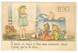 Cpa Signée Idrac - Et Puis, Si Vous N'êtes Pas Contents ... ( Fillette, Poupée, Ours En Peluche ) - Other Illustrators