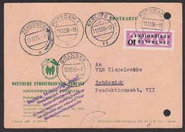 Potsdam 11.12.56 Postkarte Mit 10 Pfg. ZKD-Streifen Nach Zehdenick, Aktenlochung, Alle St. Vorderseitig, Berlin O17 - Service
