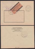 """DRESDEN ZKD Gelber Streifen ZKD 7 """"Aushändigung Als Gewöhnliche Postsendung"""", Zentraler Kurierdienst Der DDR ZKD-Brief - Service"""