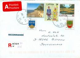 Lettland 461,463DV,466,541I,551 Auf R-Brief Nach Deutschland - Latvia