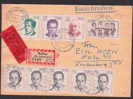 Brehna Bitterfeld DDR 918-22 R-Eil-Doppel-Bf Portogenau Geprüft KZ-Opfer II, Brüder Cervi, Julius Alpari - Storia Postale