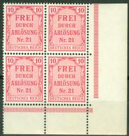 Deutsches Reich Dienst 4x4 Eckrandviererblock ** Postfrisch - Service