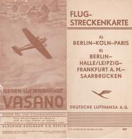 FLUG-STRECKENKARTE BERLIN-KOLN-PARIS DEUTSCHE LUFTHANSA A.G. A VOIR !!!! DEPLIANT AVEC CARTE  REF 70490 - Transport