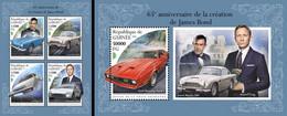 Guinea 2018, Cinema, James Bond Cars, 4val In BF+BF - Autos