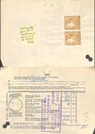 [516769]TB//-Belgique 1958 - Poortman, BRuxelles Paire Du 3f Sur Document De DOUANE, Familles Royales, Rois - 1936-1951 Poortman