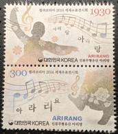 South Korea, 2014, Mi 3012-3013, Folk Music-World Stamp Exhibition PHILAKOREA 2014, Music Notes, Strip Of 2, MNH - Musica