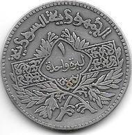 Syria 1 Lira 1950  Km 85  Vf+ - Syria