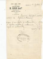 M13  / Old Invoice Lettre FACTURE Cycles Motos Armes M. SERIN MEREVILLE - Mereville