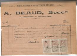 M13  / Old Invoice Lettre FACTURE MEREVILLE  A.BEAUD   Vins Cidres Spiritueux En Gros 1917 Timbres Fiscaux - Mereville
