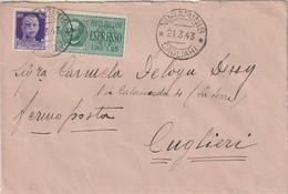 A67. Nuraminis. 1943. Annullo Guller NURAMINIS *CAGLIARI* Su Lettera Espresso Con Espresso L. 1,25 + Imperiale C.50 - Correo Urgente