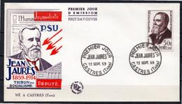 FDC FRANCE 1959 - N° 1217 - Centenaire De La Naissance De Jean Jaurès - 1950-1959