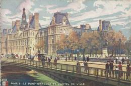 PARIS - LE PONT D'ARCOLE ET L'HÔTEL DE VILLE. (scan Verso) - Bridges