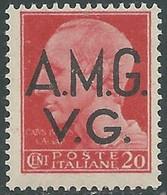 1945-47 TRIESTE AMG VG IMPERIALE 20 CENT FILIGRANA RUOTA MNH ** - RE9-2 - Nuevos