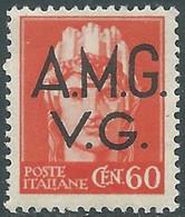 1945-47 TRIESTE AMG VG IMPERIALE 60 CENT ARANCIO MH * - RE8-7 - Nuovi