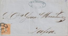 1860-CARTA-Edifil: 52. ISABEL II. SEVILLA A ZAFRA. Matasello R. CARRETA Nº 7 - Lettres & Documents