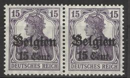 Landespost In Belgien 2x16 Waagerechtes Paar ** Postfrisch - Occupation 1914-18