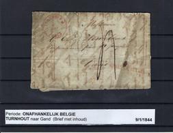 VOORLOPER (met Inhoud) 09/01/1844 Van Turnhout Naar Gand Ung - 1830-1849 (Belgio Indipendente)