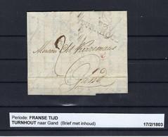 VOORLOPER (met Inhoud) 17/02/1803 Van Turnhout Naar Gand Ung - 1794-1814 (Periodo Francese)