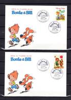 """Lot """" F.D.T. 2002 : BOULE ET BILL """"  Sur 2 Enveloppes 1er Jour De 2002. N° YT 3468 3469. Parfait état. FDC - Comics"""