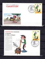 """Lot """" F.D.T. 2001 : GASTON LAGAFFE """"  Sur  Enveloppe 1er Jour Et Carte Maximum De 2001. N° YT 3370. Parfait état. FDC CM - Comics"""
