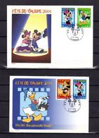 """Lot """" F.D.T. 2004 : DISNEY MICKEY MINNIE.. """" Sur Enveloppe Et Carte 1er Jour De 2004. N° YT 3641 à 43. Parf état. FDC CM - Comics"""