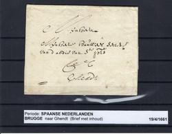 VOORLOPER (met Inhoud) 19/04/1661 Van Brugge Naar Ghendt Ung - 1621-1713 (Países Bajos Españoles)