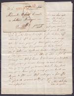 """LAC (lettre Décorée) Non-datée Pour ATH - Griffe """"94/ BRUXELLES"""" - Port """"3"""" (lettre Attachée à L'enveloppe Avec Une épin - 1794-1814 (French Period)"""