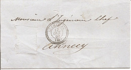 HAUTE-SAVOIE(89)  LSC   (TIMBRE DECOUPE) OBLI   LE CHABLES   (PERLE) Pour ANNECY - 1849-1876: Classic Period