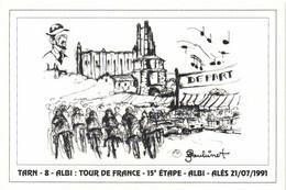 Illustrateur Serge Boubinet TARN  ALBI TOUR DR FRANCE 15e ETAPE ALBI ALES  21 /07/1991 RV 500ex - Albi