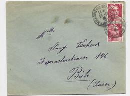 GANDON 3FR PAIRE LETTRE MULHOUSE 23.12.1946 HT RHIN POUR BALE SUISSE TARIF FRONTALIER - 1945-54 Marianne Of Gandon