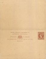 ANTIGUA  - ENTIER POSTAL  WITH REPLY - VICTORIA PENNY HALFPENNY MARRON - TRES BON ETAT - 1858-1960 Kolonie Van De Kroon