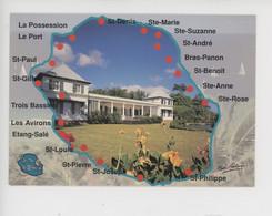Ile De La Réunion : Contour Géographique - Grande Case  (ambiance Des Iles N°4511) - Autres