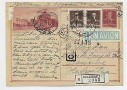 ROMANIA ENTIER 12 LEI CARTE POSTALE ROUMANIE BUCURESTI + 20LX2 REC AVION BUCURESTI 1944 TO GENEVE SUISSE - Covers & Documents