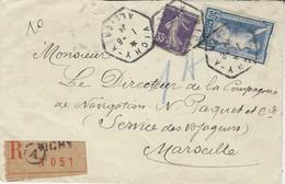 1924- Enveloppe RECC. De VIVHY - A Cad HEXAG. Plein Affr. 85 C Dont 50 C Jeux Olympiques - 1921-1960: Modern Period