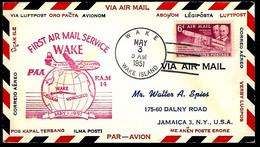 LETTRE EN PROVENANCE DES U.S.A - PREMIÈRE LIAISON AÉRIENNE AVEC WAKE - 1951 - - Sobres De Eventos