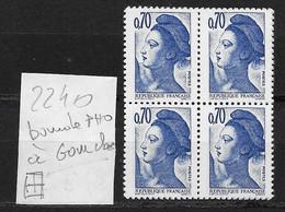 Liberté GANDON N° 2240 E) Bloc De 4 ** - Variété Bandes PHO Cote Yvert 40 € - Abarten: 1980-89 Ungebraucht