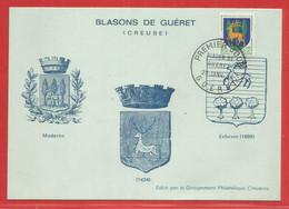 Cartes  - Maximum : Premier Jour Blason De GUERET (23) Creuse - 25 / 01 / 1964 - Unclassified