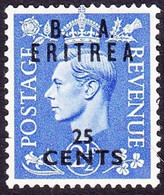 ERITREA 1950KGVI 25c On 2½d Light UltramarineSGE16MH - Eritrea